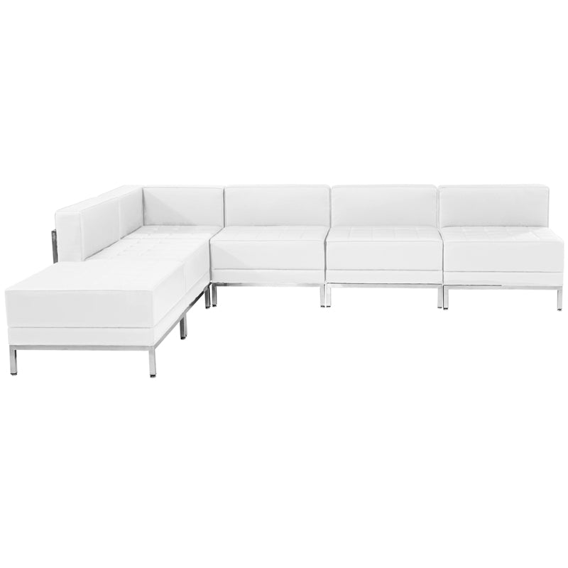 HERCULES Imagination Series White Leather Sectional Configuration, 6 Pieces - ZB-IMAG-SECT-SET10-WH-GG