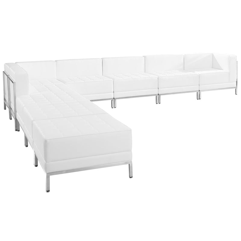 Imagination Series Melrose White Leather Sectional Configuration  9 Pieces
