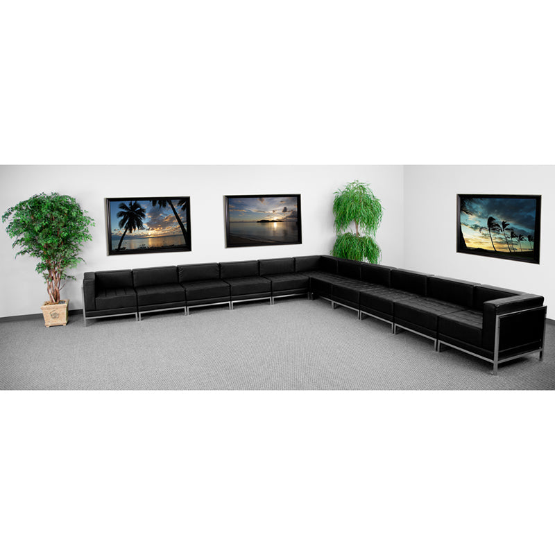 Imagination Series Black Leather Sectional Configuration  11 Pieces