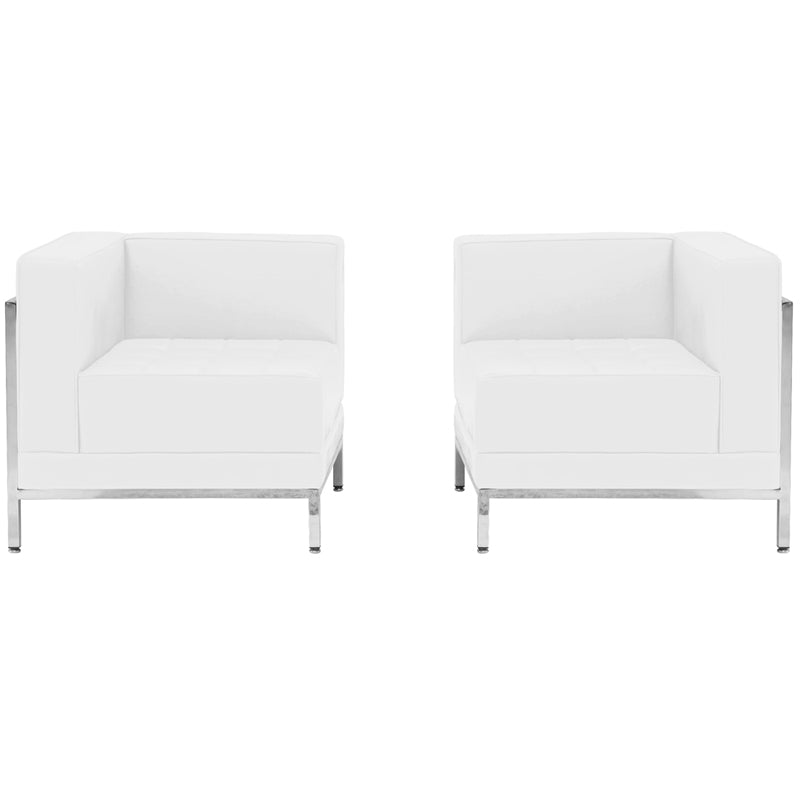 Imagination Series Melrose White Leather 2 Piece Corner Chair Set
