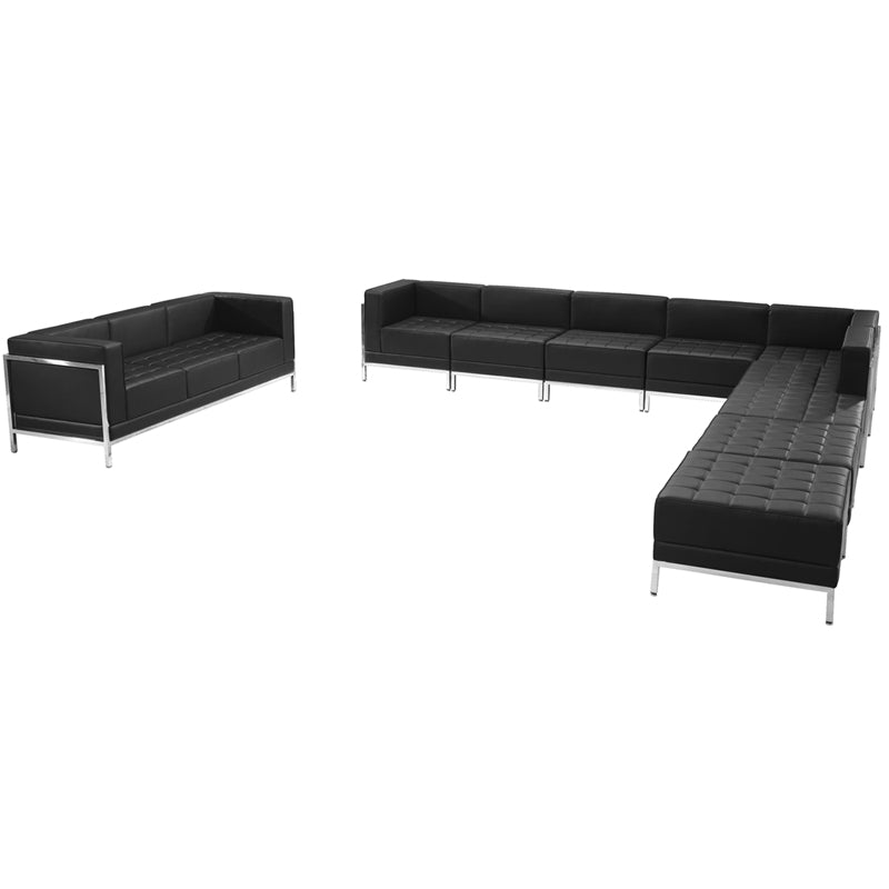 Imagination Series Black Leather Sectional & Sofa Set  10 Pieces