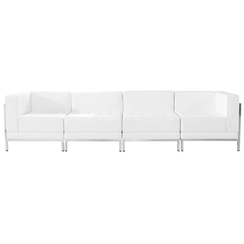 HERCULES Imagination Series White Leather 4 Piece Lounge Set - ZB-IMAG-SET8-WH-GG