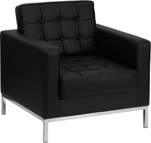 HERCULES Lacey Series Contemporary Black Leather Chair with Stainless Steel Frame - ZB-LACEY-831-2-CHAIR-BK-GG