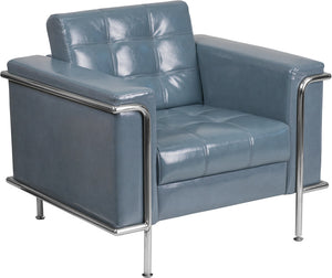 HERCULES Lesley Series Contemporary Gray Leather Chair with Encasing Frame - ZB-LESLEY-8090-CHAIR-GY-GG