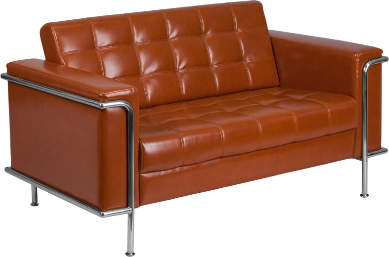 HERCULES Lesley Series Contemporary Cognac Leather Loveseat with Encasing Frame - ZB-LESLEY-8090-LS-COG-GG