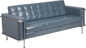 HERCULES Lesley Series Contemporary Gray Leather Sofa with Encasing Frame - ZB-LESLEY-8090-SOFA-GY-GG