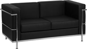 HERCULES Regal Series Contemporary Black Leather Loveseat with Encasing Frame - ZB-REGAL-810-2-LS-BK-GG