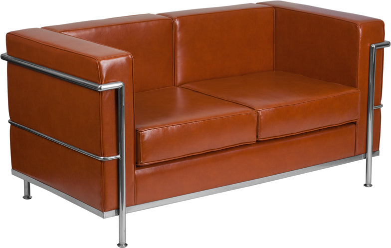HERCULES Regal Series Contemporary Cognac Leather Loveseat with Encasing Frame - ZB-REGAL-810-2-LS-COG-GG