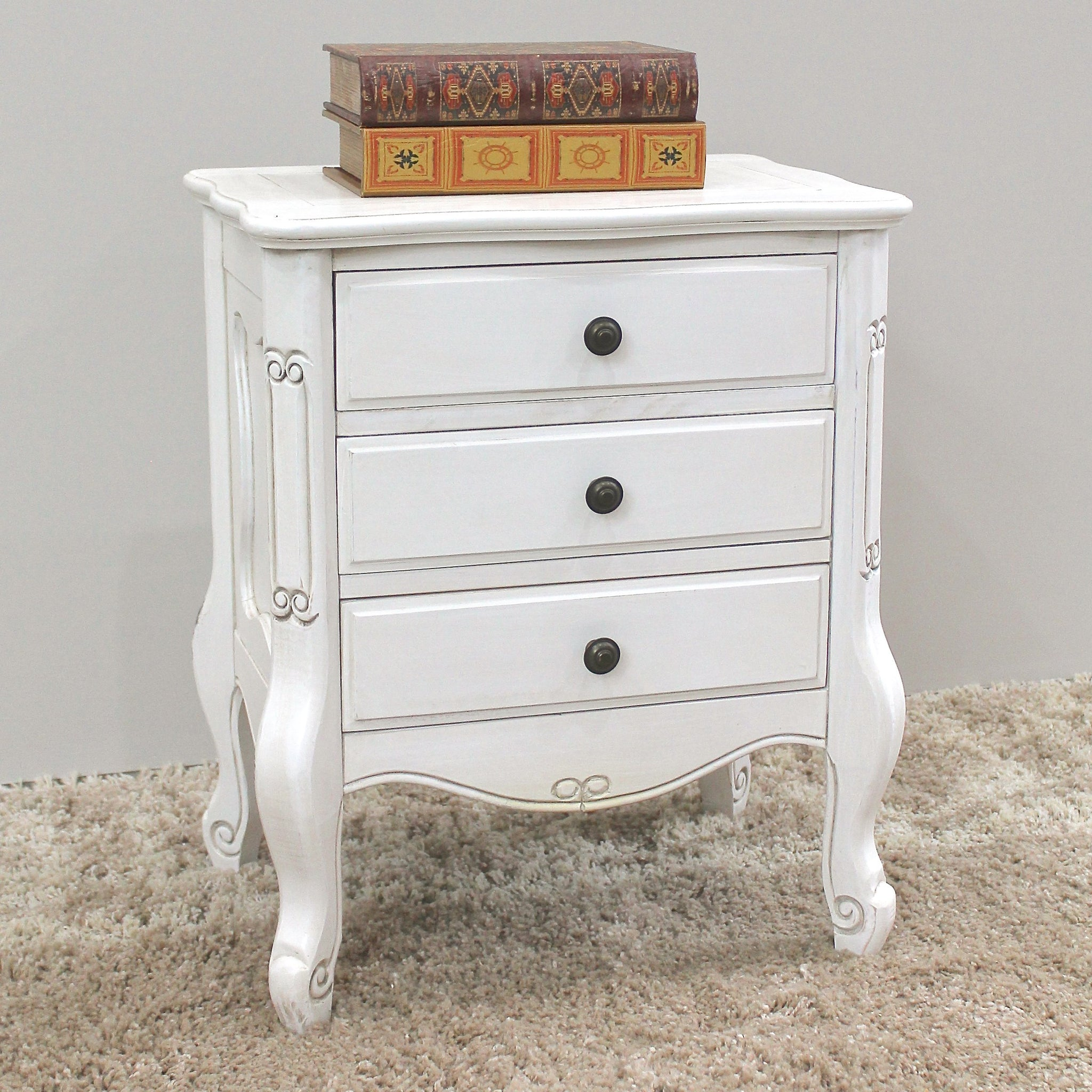 Windsor Carved Wood Three Drawer Table - Antique White