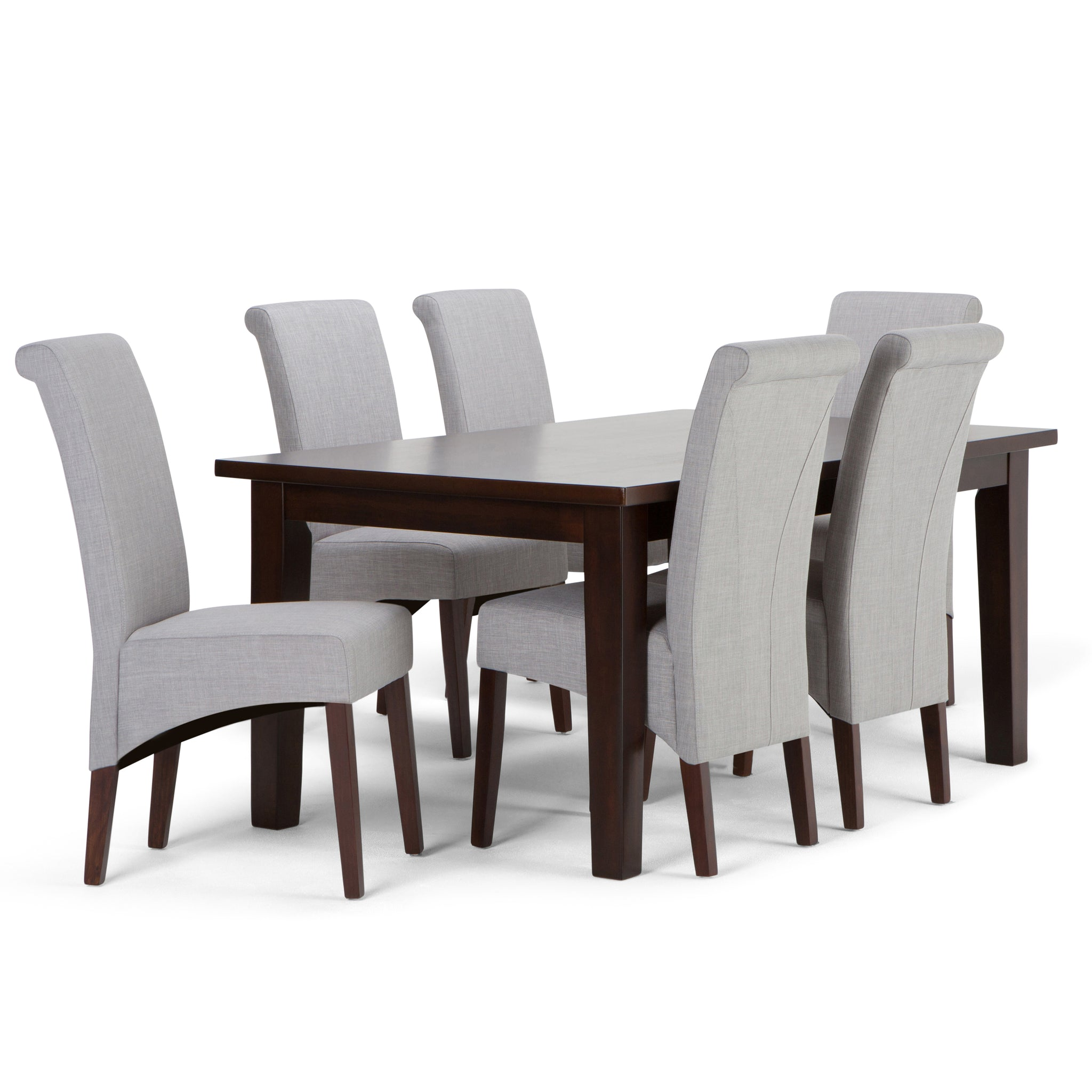 Avalon 7 piece Dining Set in Dove Grey Linen Look Fabric