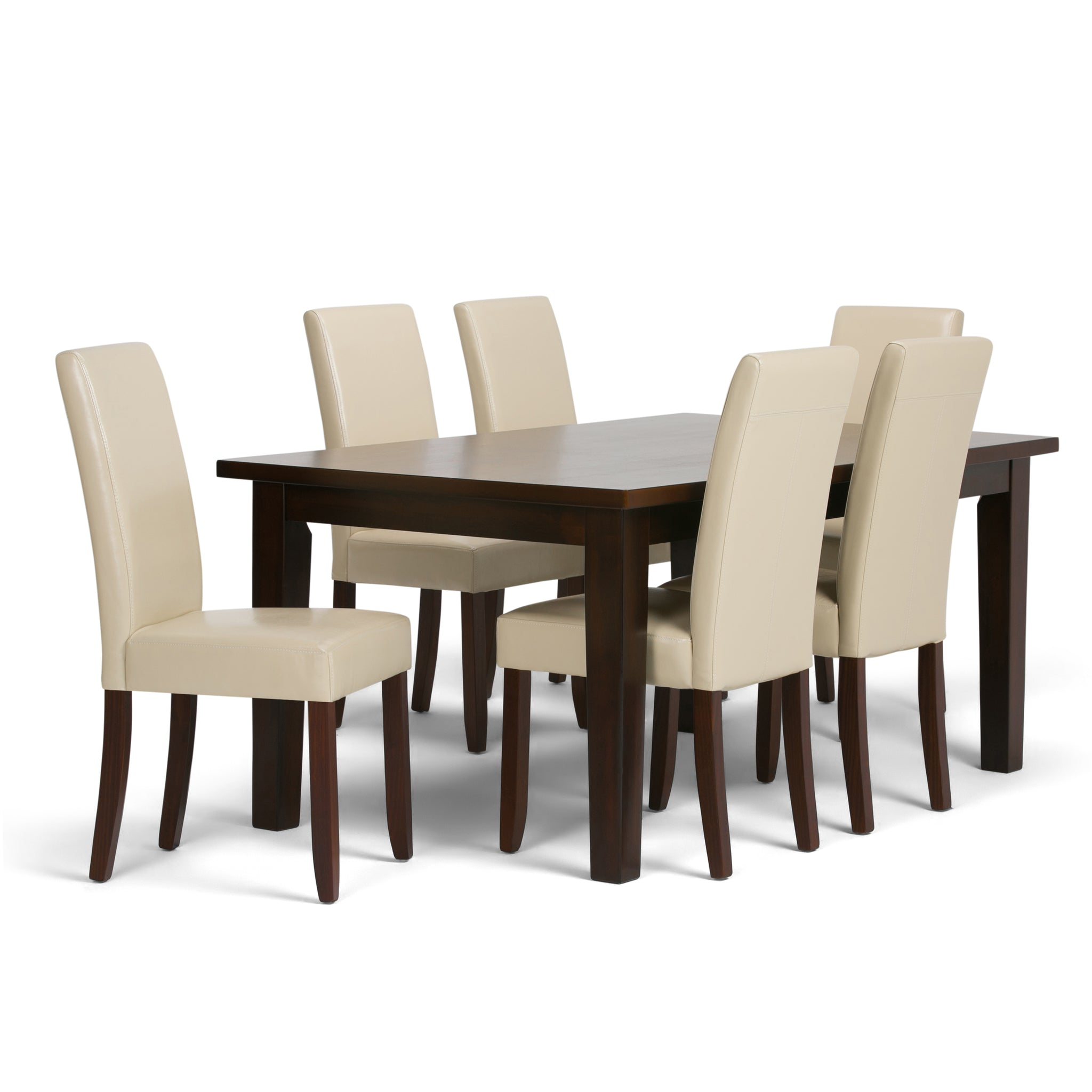 Acadian 7 piece Dining Set in Satin Cream Faux Leather