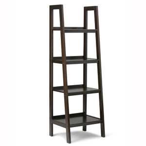Sawhorse Solid Wood Ladder Shelf in Dark Chestnut Brown