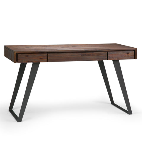 Lowry Solid Acacia Desk in Distressed Charcoal Brown