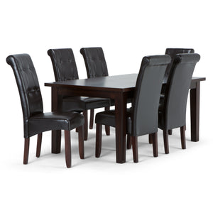 Cosmopolitan 7 piece Dining Set in Tanners Brown Faux Leather