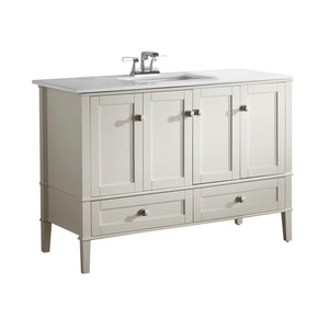 Chelsea 48 inch Bath Vanity in Soft White  with White Engineered Quartz Marble Top
