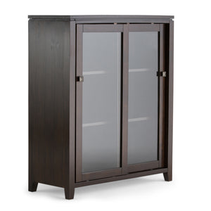 Cosmopolitan Solid Wood Medium Storage Cabinet in Coffee Brown