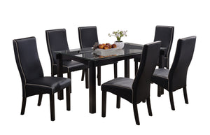 Pilaster Designs - Dining Dinette - Kitchen Table & Black Upholstered Parson Chairs (Table & 6 Chairs)