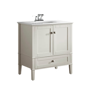 Chelsea 30 inch Bath Vanity in Soft White  with White Engineered Quartz Marble Top