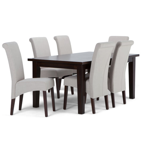Avalon 7 piece Dining Set in Natural Linen Look Fabric