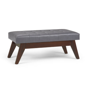 Draper Mid Century Faux Leather Tufted Ottoman Bench in Stone Grey