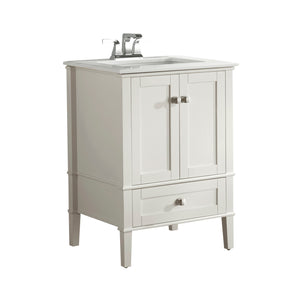 Chelsea 24 inch Bath Vanity in Soft White  with White Engineered Quartz Marble Top
