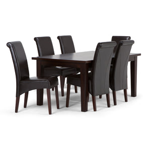 Avalon 7 piece Dining Set in Tanners Brown Faux Leather