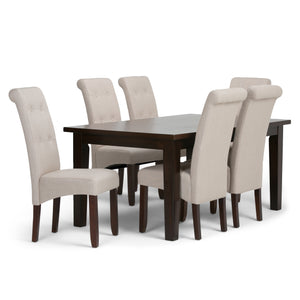 Cosmopolitan 7 piece Dining Set in Natural Linen Look Fabric