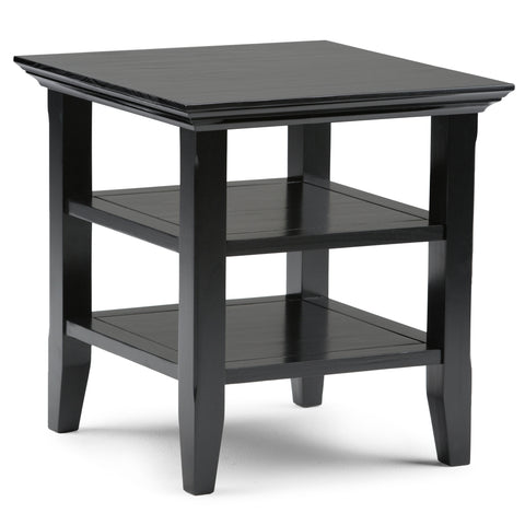 Acadian Solid Wood End Table in Black