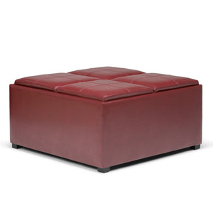 Avalon Faux Leather Square Coffee Table Storage Ottoman in Radicchio Red