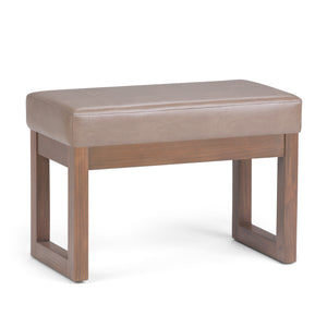 Milltown Faux Leather Small Ottoman Bench in Ash Blonde