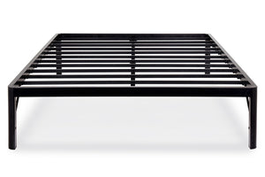 MIGHTY 16 Inch High Heavy Duty Steel Slat Bed Frame with Round Corners Twin Extra Long
