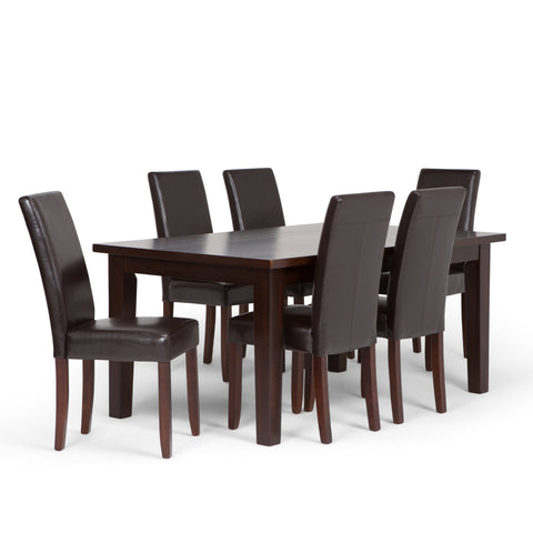 Acadian 7 piece Dining Set in Tanners Brown Faux Leather