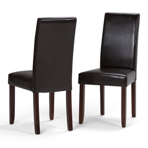 Acadian Faux Leather Parson Dining Chair in Tanners Brown (Set of 2)