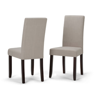 Acadian Linen Look Fabric Parson Dining Chair in Natural (Set of 2)