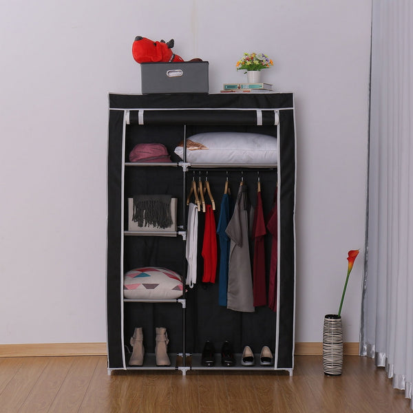 64inch Portable Closet Storage Organizer Wardrobe Clothes Rack With Shelves Black DIY Non-woven Fold Portable Storage Furniture
