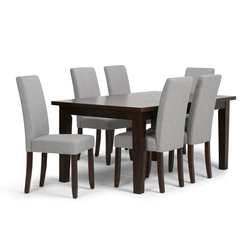 Acadian 7 piece Dining Set in Dove Grey Linen Look Fabric