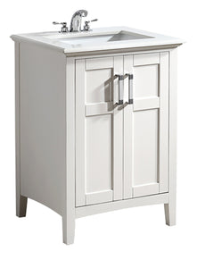 Winston 24 inch Bath Vanity in Soft White with Bombay White Engineered Quartz Marble Top