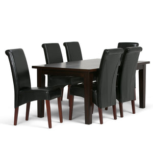 Avalon 7 piece Dining Set in Midnight Black Faux Leather