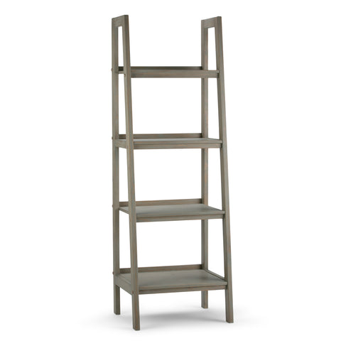 Sawhorse Solid Wood Ladder Shelf in Distressed Grey
