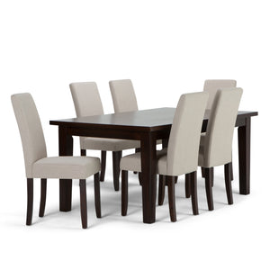 Acadian 7 piece Dining Set in Natural Linen Look Fabric