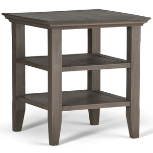 Acadian Solid Wood End Table in Farmhouse Grey