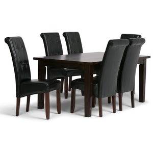 Cosmopolitan 7 piece Dining Set in Midnight Black Faux Leather