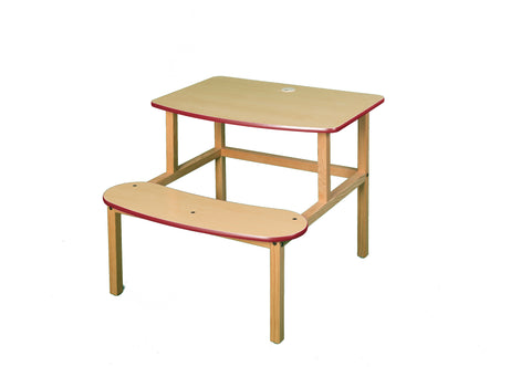 Student Desk - maple/red