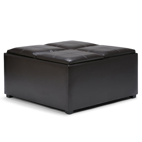 Avalon Faux Leather Square Coffee Table Storage Ottoman in Tanners Brown