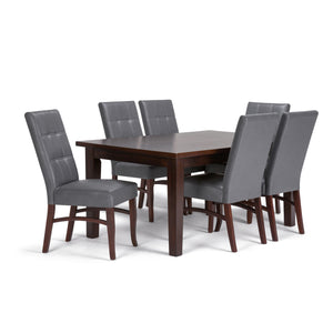 Ezra 7 piece Dining Set in Stone Grey Faux Leather