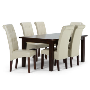 Cosmopolitan 7 piece Dining Set in Satin Cream Faux Leather