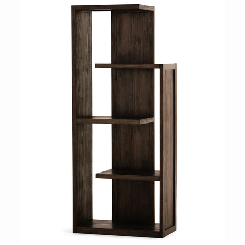 Monroe Solid Acacia Bookcase in Distressed Charcoal Brown