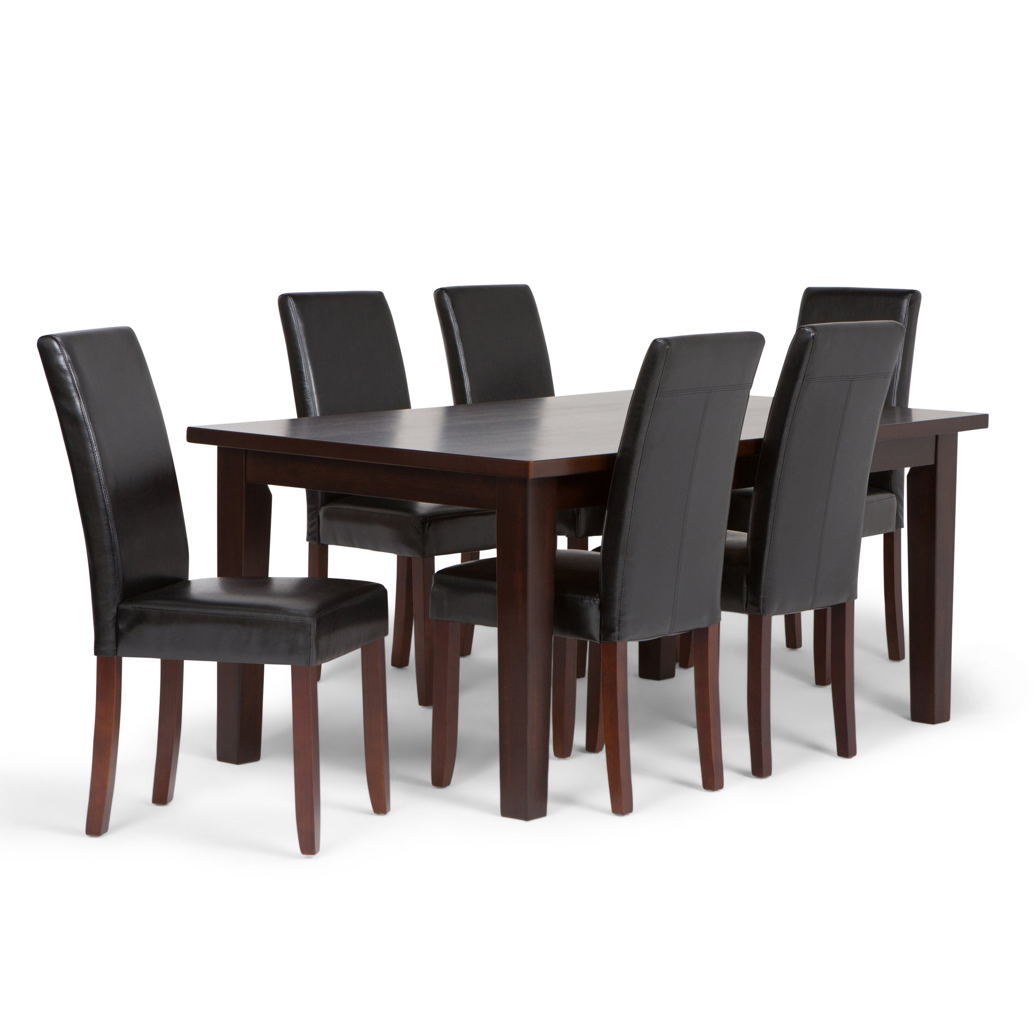 Acadian 7 piece Dining Set in Midnight Black Faux Leather