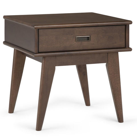 Draper Mid Century Solid Hardwood End Table in Walnut Brown