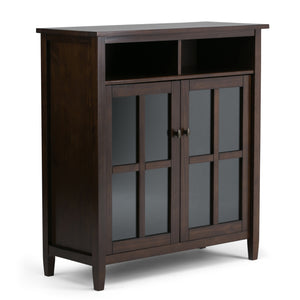 Warm Shaker Solid Wood Medium Storage Media Cabinet in Tobacco Brown